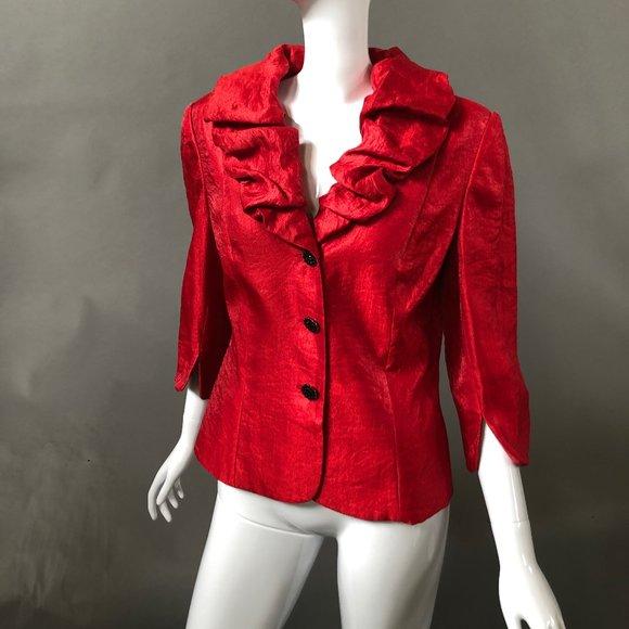 Victor Costa Jackets & Blazers - Victor Costa Vintage Ruffle Jacket